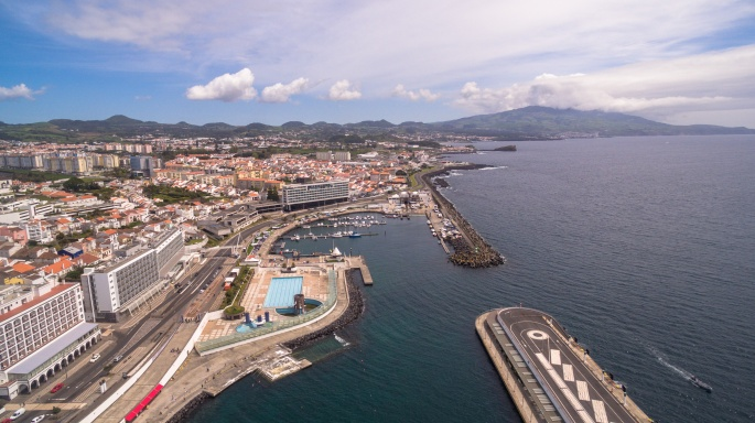City with harbor at Ponta Delgada, capital city of the Azores at Sao Miguel Island
