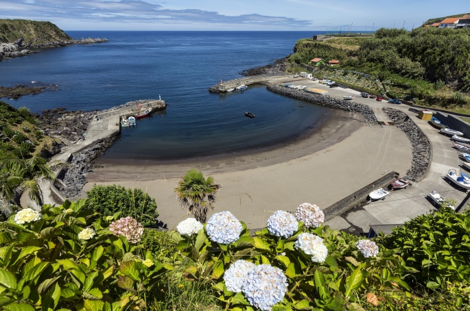 Porto Formoso beach, Sao Miguel, Azores Islands, Portugal.