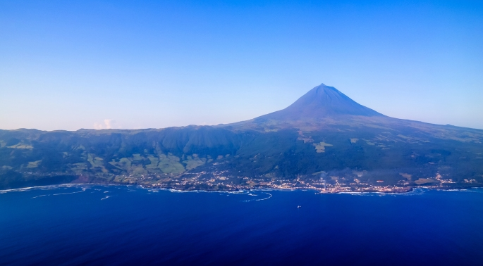 Aerial view to Pico volcano and island AzoresPortugal