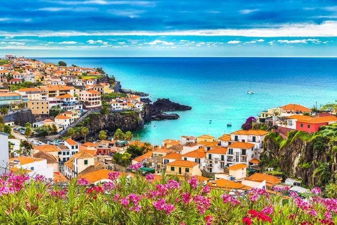 Panoramic view over Camara de Lobos Madeira island Portugal
