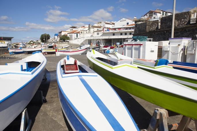Colorful Boats On A Port. Sao Miguel Island. Azores. Portugal