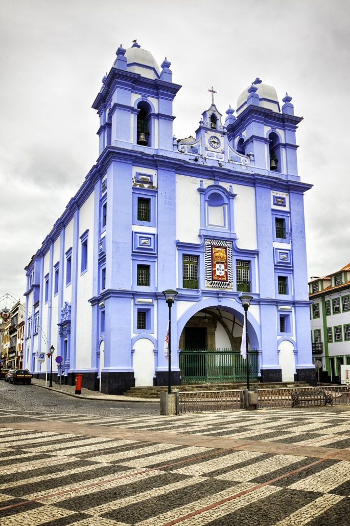 Igreja da Misericordia, blue church at Angra do Heroismo, Tercei