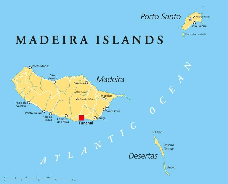 Madeira Islands Political Map