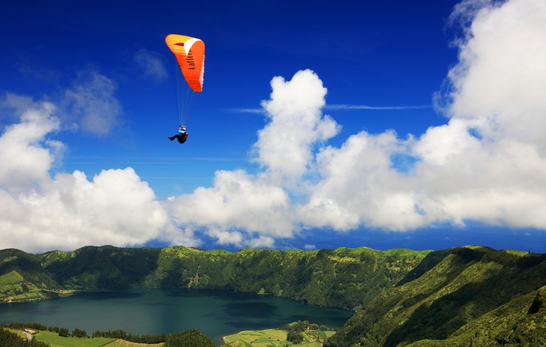 Paragliding over Sete Cidades, Sao Miguel Island, Azores, Portug