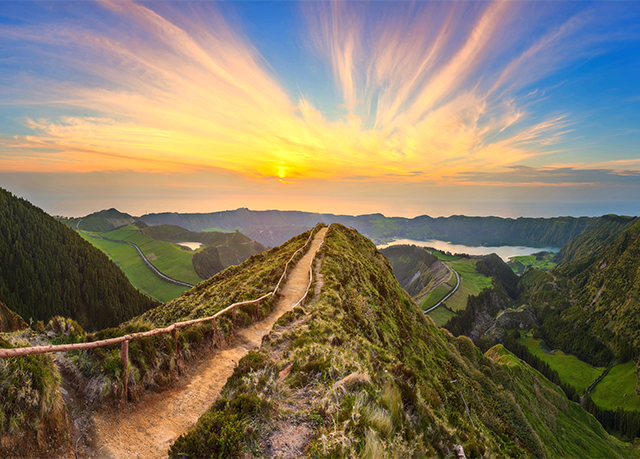 Mountain landscape with hiking trail, Sao Miguel Island, Azores, Portugal