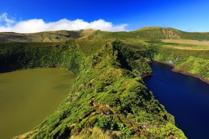 Lagoa Comprida and Lagoa Fonda, Flores Island, Azores, Portugal,