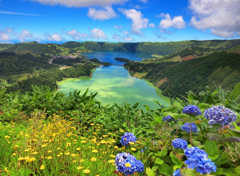 Lanscape from the volcanic crater lake of Sete Citades in Sao Mi